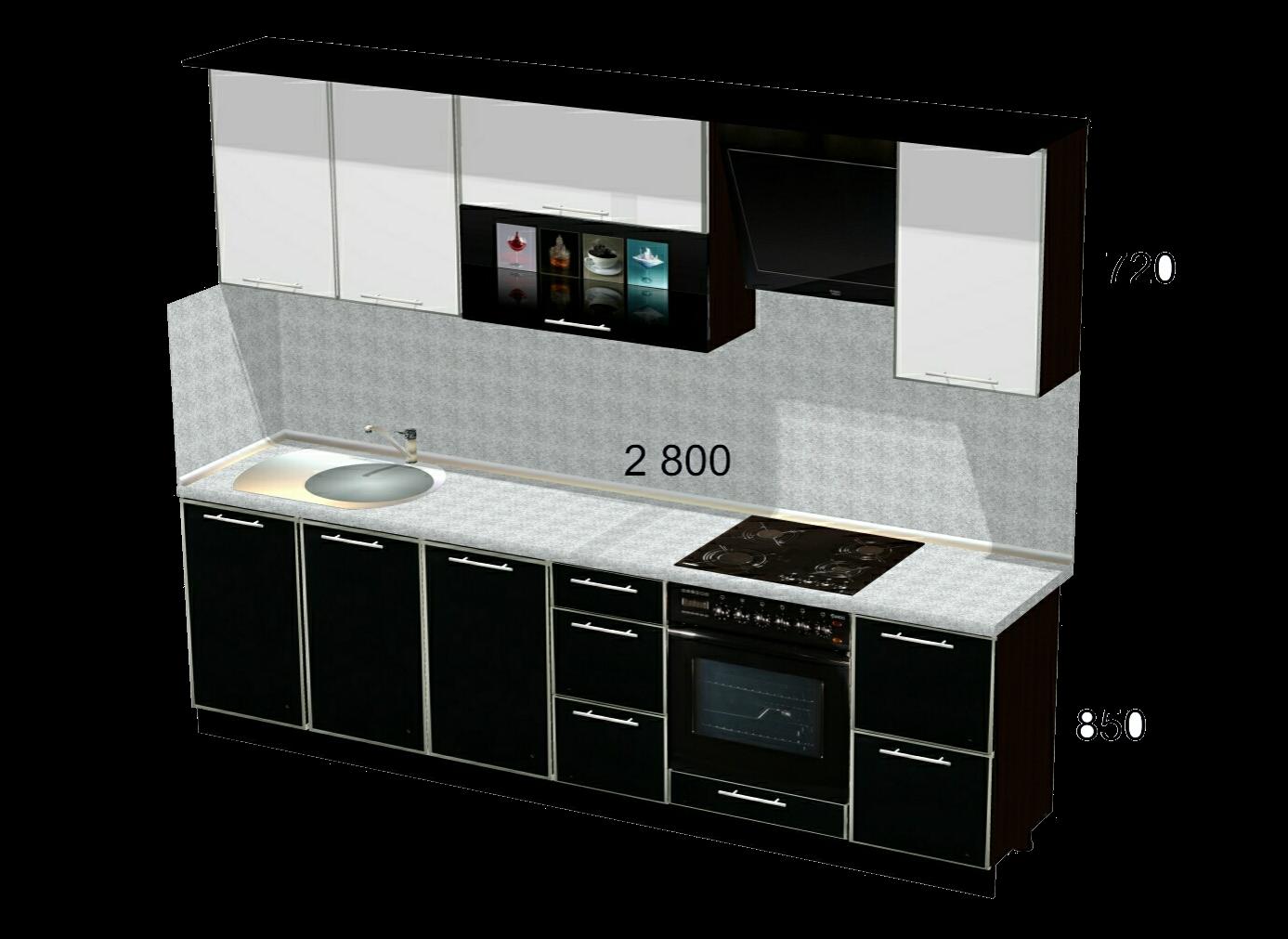 пластиковая кухня в алюминиевой рамке фото